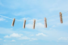 Wooden clothespin. Pinch on clothes line Stock Images