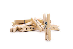 Wooden clothespin prepared. Royalty Free Stock Images