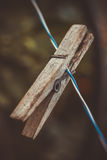 Wooden clothespin is used for clothes Royalty Free Stock Photography