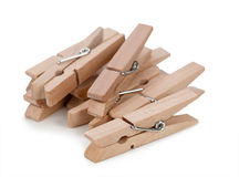 Wooden clothespin on a white background Stock Photo