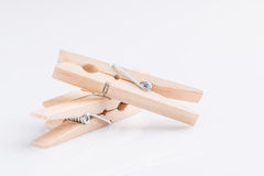 Wooden clothespin on white background. Wooden clothespin , cloth clip , on white background Stock Photos