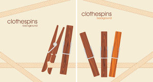 Wooden clothespins. Background for design Stock Photo