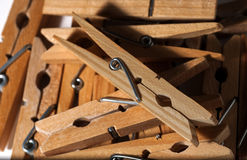 Wooden clothespins royalty free stock images