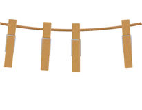 Wooden clothespins on rope vector illustration Royalty Free Stock Images