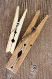 Wooden clothespins Stock Images