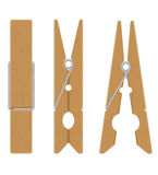 Wooden clothespins vector illustration Stock Images