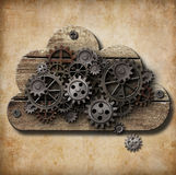 Wooden cloud with rusty gears on grunge background Royalty Free Stock Images