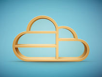 Wooden cloud shelf Royalty Free Stock Image