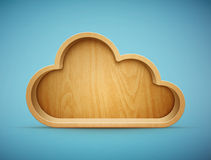 Wooden cloud shelf Stock Image