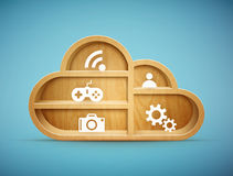 Wooden cloud shelf with icons Stock Photos