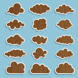 Wooden clouds collection Stock Photos