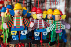 Wooden clowns puppet dolls Royalty Free Stock Images