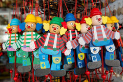 Wooden clowns puppet dolls Stock Image