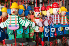 Wooden clowns puppet dolls Royalty Free Stock Photography