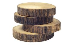 Wooden beer or coffee coasters isolated on white background with clipping path. stock photo