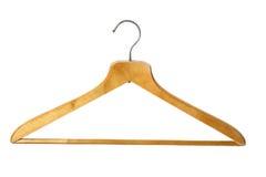 Wooden coat hanger. Old wooden coat hanger, isolated Stock Photo