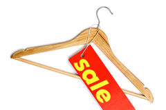 Wooden coat hanger with sale label Stock Images