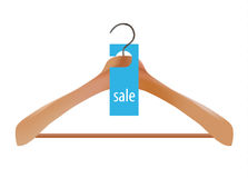 Wooden coat hanger and sale tag illustration Stock Photo