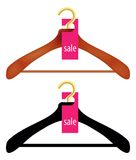 Wooden Coat Hanger With Sale Tag Stock Images