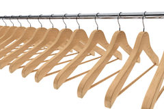 Wooden coat hangers Stock Images