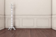 Wooden Coat Rack. In front of a grey wall. 3d rendering vector illustration