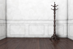 Wooden Coat Rack. In front of a white wall. 3d rendering royalty free illustration