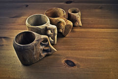 Wooden coffee cups or guksi Royalty Free Stock Photo