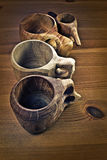 Wooden coffee cups or guksi Royalty Free Stock Photos