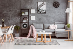 Grey couch set in living room Stock Photo