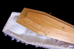 Wooden coffin Stock Photo