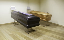 Wooden coffins stock image