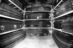 Wooden coffins Stock Photo