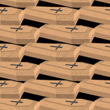 Wooden coffins seamless pattern. Vector background cemetery Stock Photo