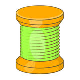 Wooden coil icon, cartoon style Stock Images