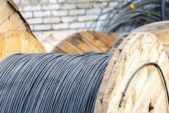 Wooden Coils Of Electric Cable Outdoor Stock Photos