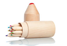 Wooden color pencils Royalty Free Stock Photos
