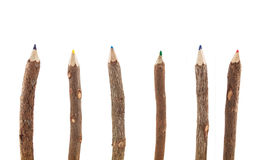 Wooden color pencils. Isolated on a white background Royalty Free Stock Photography