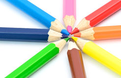 Wooden color pencils Royalty Free Stock Image