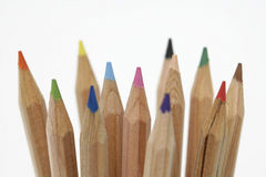 Wooden color pencils close-up Stock Images