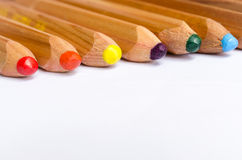 Wooden Color Pencils. Isolated on White Background Royalty Free Stock Photography