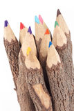 Wooden color pencils on a white background Royalty Free Stock Photos