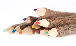 Wooden color pencils on a white background Stock Photos