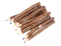 Wooden color pencils on a white background Stock Image