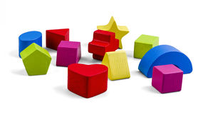Wooden color toy blocks isolated on white with clipping path Royalty Free Stock Photo