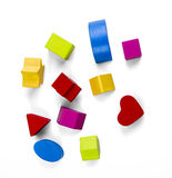 Wooden color toy blocks isolated on white with clipping path Stock Image