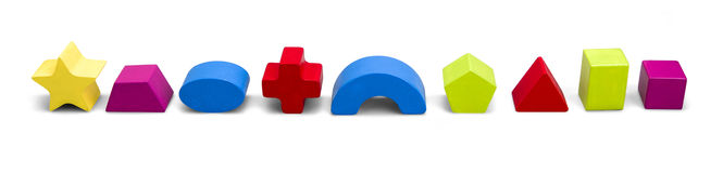 Wooden color toy blocks isolated on white with clipping path Stock Photos