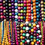 Wooden colored beads on display on the market in Zakopane, Polan Royalty Free Stock Images