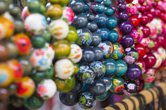 Wooden colored beads on display on the market in Zakopane, Polan Royalty Free Stock Image
