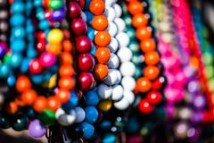 Wooden colored beads on display on the market in Zakopane, Poland Stock Image
