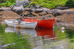 Wooden colored boats anchored Royalty Free Stock Images